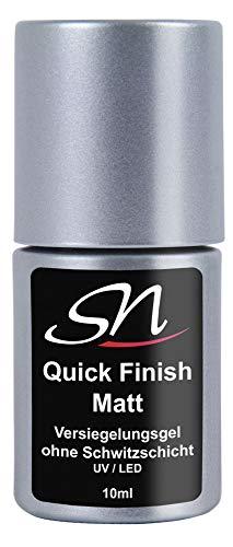 SN Quick Finish matt Top Coat Versiegelungsgel ohne Schwitzschicht No Wipe UV LED Flex Gel Überlack für UV Nagellack Gel Lack Acryl Nagelgel matte 10ml