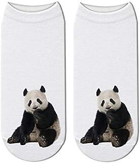NANAYOUPIN, Las Nuevas Temporadas De Moda De Algodón Transpirable Medias Medias Cómodas (5 Pares) 3D Impreso Panda Animal Calcetines Mujeres Niño Gigante Panda Divertido Lindo Algodón Corto T