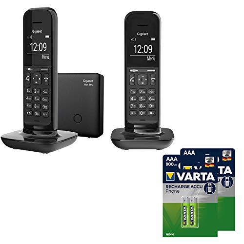 Hello Phone Duo Gigaset inkl. AAA T398 Akkus - Schnurlose Design-Telefone für Zuhause mit Anrufbeantworter, großem Display und Freisprechfunktion - Schwarz
