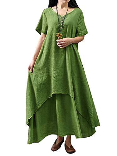 Romacci Damen Beiläufige Lose Kleid Fest Langarm Boho Lang Maxi Kleid S-5XL Schwarz/Weiß/Rot/Gelb (Grünes-Kurzarm, 2XL)