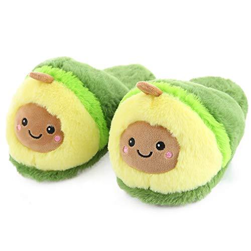 Millffy Niedliche Pitaya-Schuhe für Damen, Avocado-Hausschuhe, warme Ananas-Plüsch-Hausschuhe, Schlafzimmer-Hausschuhe (36-38, Avocado)