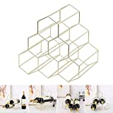 HY-WWK Honeycomb Weinregal Eisen Lagerregal Vitrine Home Decoration Portabottiglie Da Wein, Farbe, Blanco,Blanco