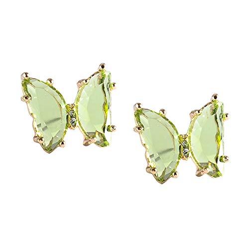 Ruby569y Pendientes colgantes para mujeres y niñas, mariposa transparente con tuerca simple de cristal sintético para mujer, joyería en forma de lágrima, verde