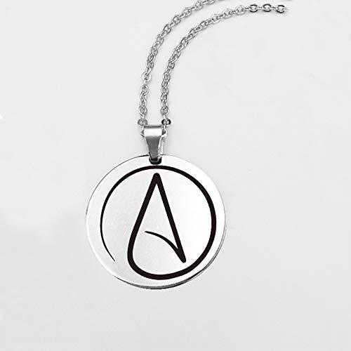 Collar con colgante redondo de acero inoxidable con símbolo ateo, cadena antiteísta, para mujeres y hombres