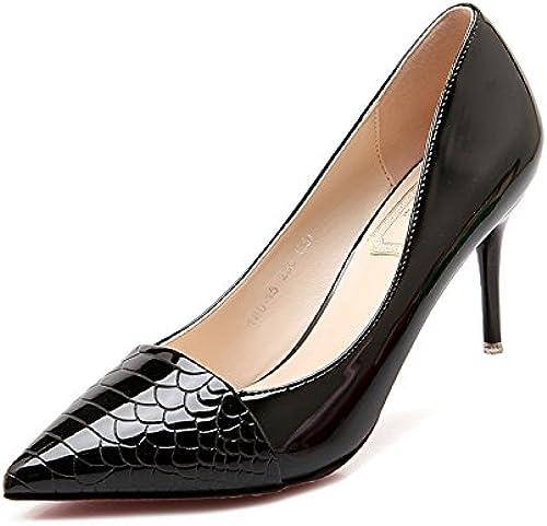 Xue Qiqi zapatos de tacón alto con punta fina y versátil moda mujer zapatos elegantes bare-luz de Color único zapato,38, negro de 7 cm.