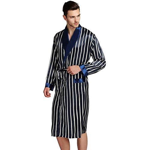 LEYUANA Pijamas de satn para Hombre, Batas SML XL 2XL 3XL Plus Beige Azul Rayas XL Azul Marino