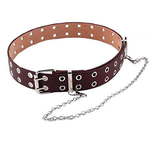 Cinturón Sola Ojal Ojal PU de Cuero de Moda de Las Mujeres Correa de Cintura de la Correa Hueco Remaches Solo Diente Hebilla de cinturón Ajustable Negro
