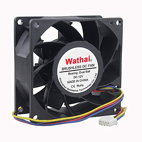 Wathai PWM Fan DC High Air Pressure Cooling Fan 12V 80mm Cooling Fan 80mm x 38mm 8038 High Speed Dual Ball Bearing