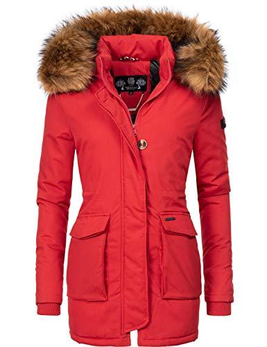 Navahoo Damen Winterjacke Wintermantel Schneeengel-Prc Rot Gr. XS