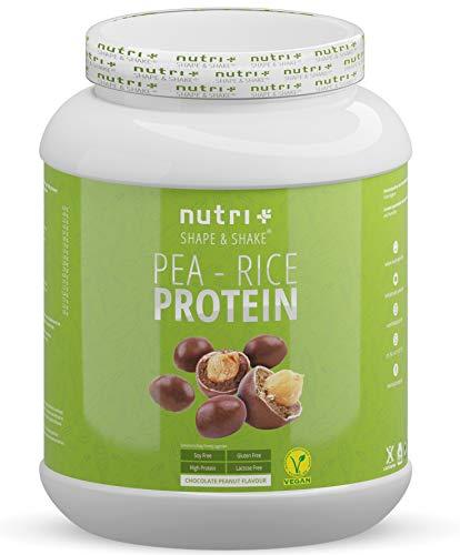 Erbsenproteinpulver - Chocolate Peanut 1kg - Reiseiweißpulver ohne Soja, Lactose, Zucker & Milch - Eiweiß Pulver Vegan Schokolade Erdnuss - mit Erbsen Protein aus deutschem Anbau