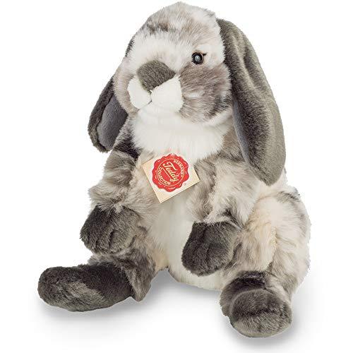 Teddy Hermann 93799 Widder-Kaninchen sitzend grau-weiß 23 cm, Kuscheltier, Plüschtier