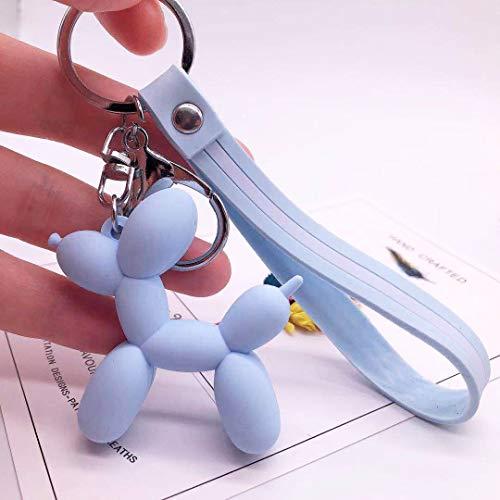 WYHA 女性キーチェーン車のキーリングバッグのペンダントの宝石のために漫画のバルーン犬キーホルダーカラフルなソフトラバーPVCラブリードッグキーホルダー (Color : Blue)