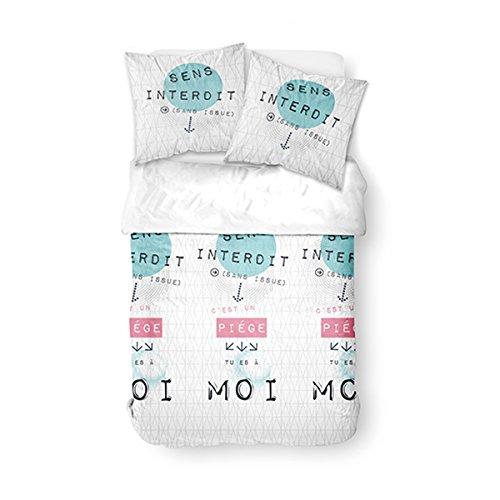 TODAY Parure de lit pour 2 Personnes Dessin Sens Interdit, Polyester, Blanc/Bleu/Rose, 220x240 cm