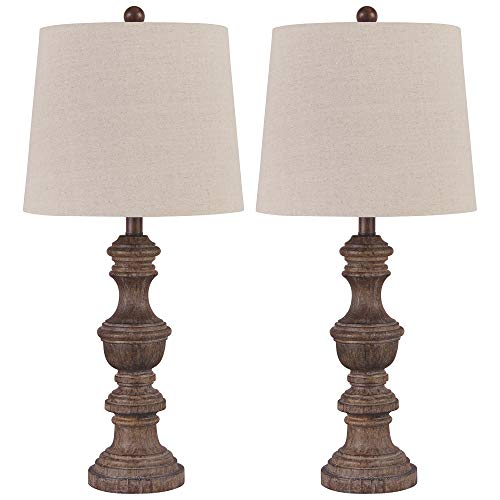 Signature Design by Ashley - Magaly Poly Table Lamps - Set of Two - Brown