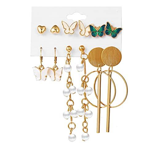 1 pieza de pendientes para niñas vintage elegante con forma de mariposa y colgante de perlas