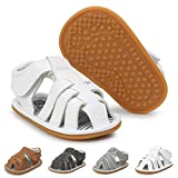 Baby Boy Sandals Summer Anti-Slip Rubber Sole First Walkers Shoes Infant Sandals for Toddler Girls(0-18 Months)(0-6 Months M US Infant,A-White)