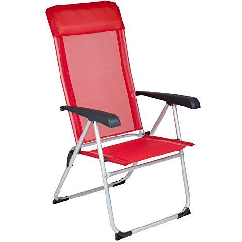 Klappstuhl Nice 8 Positionen verstellbar in rot • Campingstuhl Faltstuhl Gartenstuhl Stuhl Klappsessel Outdoor Camping