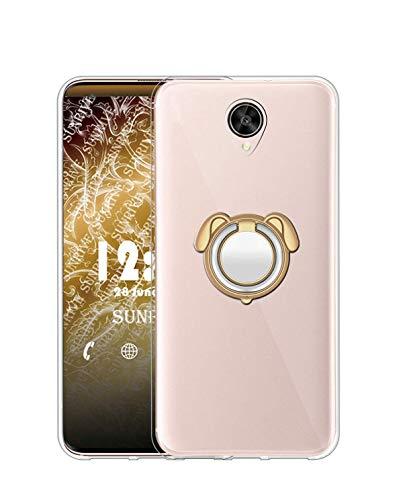 Sunrive Kompatibel mit Meizu M3 Max Hülle Silikon, 360°drehbarer Ständer Ring Fingerhalter Fingerhalterung Handyhülle Transparent Schutzhülle Etui Hülle (Farbe Golden) MEHRWEG