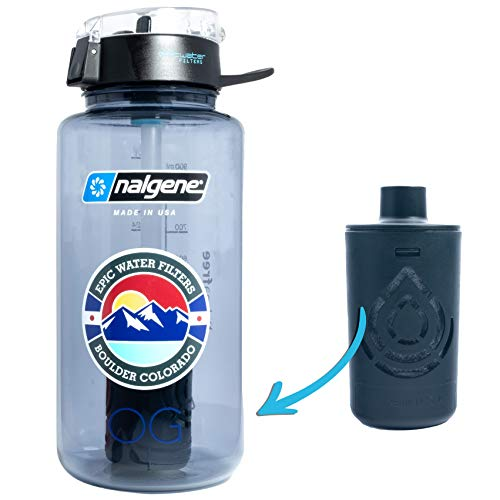 Epic Nalgene OG | Water Filtration Bottle | Wide Mouth 32 oz | American Made Bottle | USA Made Filter Removes 99.99% of Tap Water Contaminants Lead Chlorine Chromium 6 (Smoke Grey Covered Lid)