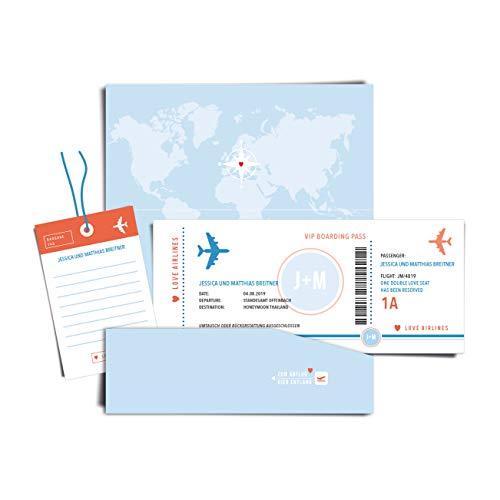 Geld Verpackung Boarding Pass Flugticket BLUE SKY, personalisierte Hochzeitskarte/Glückwunschkarte (mit Namen und Datum für Flitterwochen/Hochzeitsreise