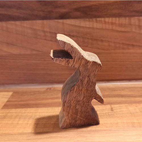 Osterhase hüpfend aus Mangoholz ca. 10cm zur Dekoration aus Holz Osterdeko #001