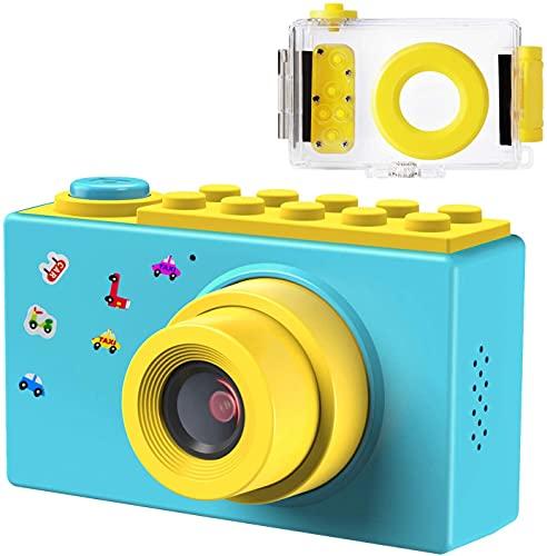 Samoleus Macchina Fotografica per Bambini, Fotocamera Digitale Subacquea Impermeabile, Digital Camera Kids Videocamera HD 1080P   8MP   Zoom Digitale 4X   LCD da 2 Pollici (Blu)