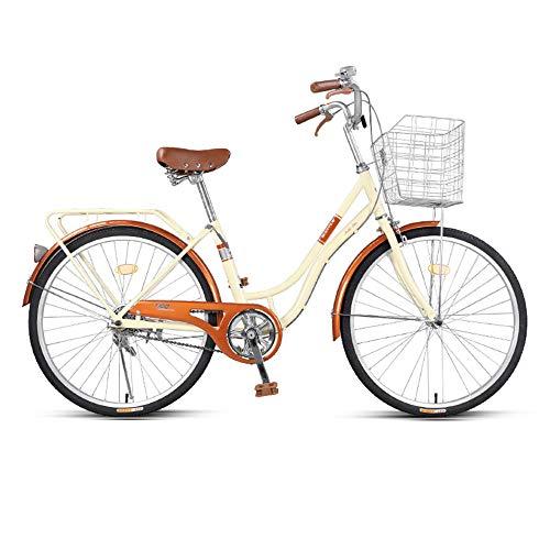 Bicicleta, Bicicleta de Viaje de Moda Retro, Bicicleta de Ocio de una Sola Velocidad de 24 Pulgadas, Marco de Acero de Alto Carbono de Bajo Alcance, para Adultos/Adolescentes/A / 163x10