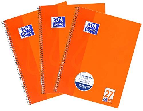Oxford Schule Collegeblock A4, liniert, 80 Blatt, orange, 3er Pack