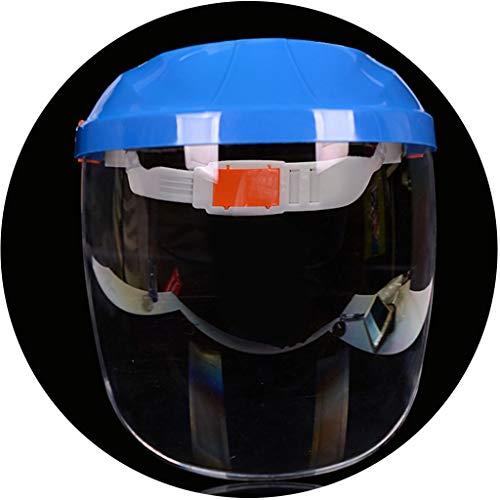 Visiere Schutzgläser Schablonen-Maske transparente Schutzschicht Maske Head-Mounted Anti-Splash-Maske Küche Kochen Anti-Rauch-Maske (Color : Blue, Size : 21.5 * 23cm)