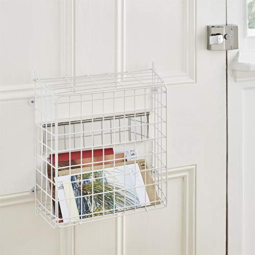 Direct Online Huisraad Brievenbus Vangbak Mand met Lift Up Deksel, Wit, 33.5cm H x 32cm B x 13cm D