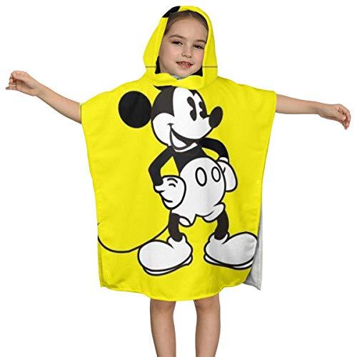 DJNGN Mi-CK-EY Mou-se sobre Fondo Amarillo Toalla de Playa con Capucha para niños Toalla de baño de Piscina Suave 100% algodón para Nadar/Ducha/Piscina Niños Niñas Capa de Encubrimiento