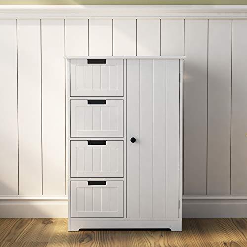 soges Kommoden & Sideboards,Badezimmerschrank,Kommode,Freistehender Schubladenschrank,Beistelltisch mit 4 Schubladen,2 Fachböden und Tür,56,5 * 30 * 83CM,Weiß