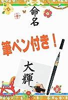 命名用紙フルセット 木馬と花(オレンジ)全9種類【用紙10枚、筆ペン付き!!】