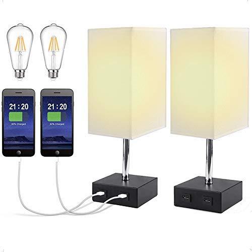 Lámpara de Mesa LED con Control Táctil, LTTENY Lampara Mesilla de Noche con 2 Puerto USB, Luz Nocturna LED Moderna para Dormitorio, Estudio,Comedor, con 2 Bombilla LED