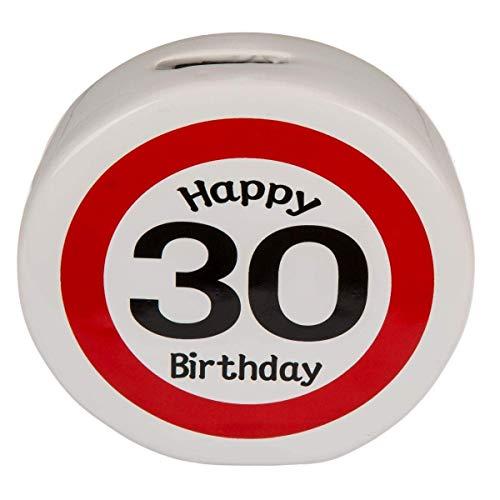 KMC Austria Design Spardose Sparer zum 30. Geburtstag - Keramik rund - ca. 13,5cm x 4cm - Happy Birthday 30