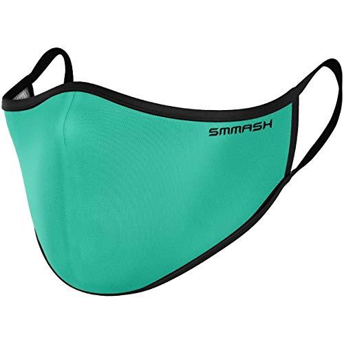 SMMASH Mundschutz Maske Wiederverwendbar, Hochwertiges Gesichtsmaske Waschbar, Multifunktional Trainingsmaske für Radfahren, Laufen, Staubschutzmaske für Damen, Herren (L/XL, Turquoise)