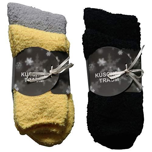 4 Paar Kuschelsocken 35-42 Uni Bettsocken Damen Kuschel Socken Haussocken (2x Schwarz+1xGelb +1x Grau)