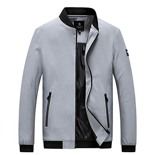 ZahuihuiM Hommes Automne Outwear Casual Mode Pure Color Plus Taille en Plein Air Sport Manteau Zipper Stand Cou Outcoat Tops