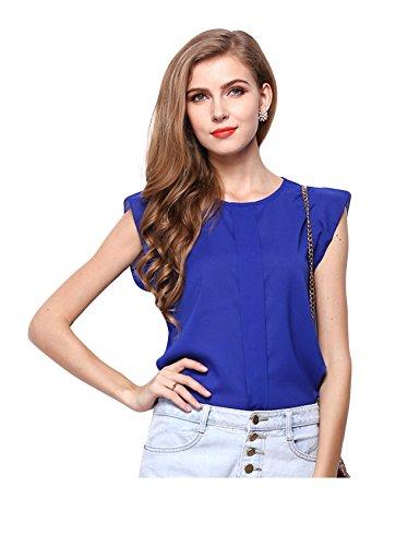 Bestgift dames soldeerkleur korte mouwen t-shirts elegant volant blouse chiffon overhemd tops koningsblauw Aisa L (EU M)