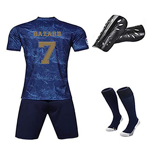Kinder Erwachsenen Fußball T-Shirt, Ramos Hazard Modric Bale, Royal Football Club Das neueste Auswärt Fußball Trikot Kit, Wiederholbare Reinigung, kann angepasst werden-number7-24code