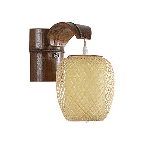 Dongbin Wandleuchte Bambus, DIY Weberei - Einzel Moderne Möbel Bambus E27 Gilt Lesesaal Bett Gilt Aufenthaltsraum Balkon Flur Restaurant,15 * 28 * 36cm