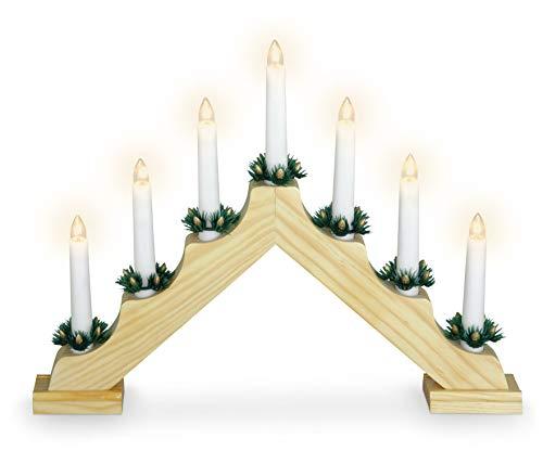 Holz Schwibbogen mit 7 LED Kerzen und Timer - 39,5 x 31 cm - Batterie Adventsleuchter Lichterbogen Kerzenbrücke Fenster Deko