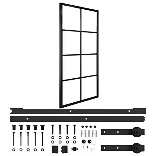 Qnotici Puerta corredera de Aluminio y Cristal ESG con herrajes. Protección contra Insectos. Paredes divisorias, Puertas Interiores 83x205 cm