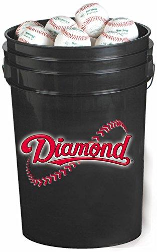 Diamond 6-Gallon Ball Bucket with 30 DOB Baseballs, Black