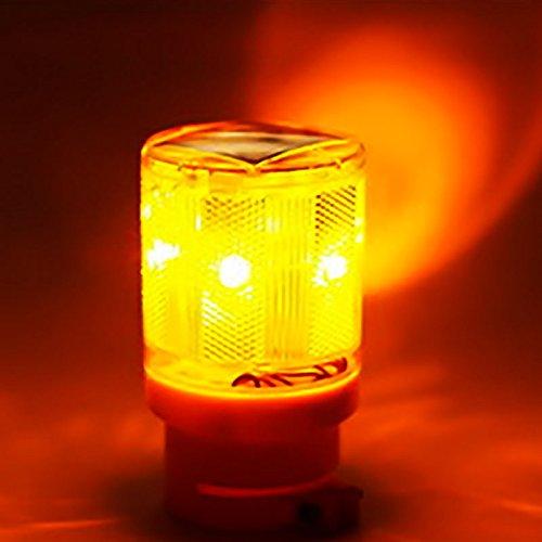 ETbotu Semi-Trou Solaire, voyants Lumineux à LED pour Le Traffico Strobe Voyants Lumineux Flicker Beacon Road Barricade Construction Sign Spia Gialla