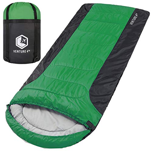 3-Season XL Sleeping Bag, Extra Large – Lightweight, Comfortable, Water Resistant, Backpacking Sleeping Bag for Big and Tall Adults – Ideal for Hiking, Camping & Outdoor Adventures – Green/Gray