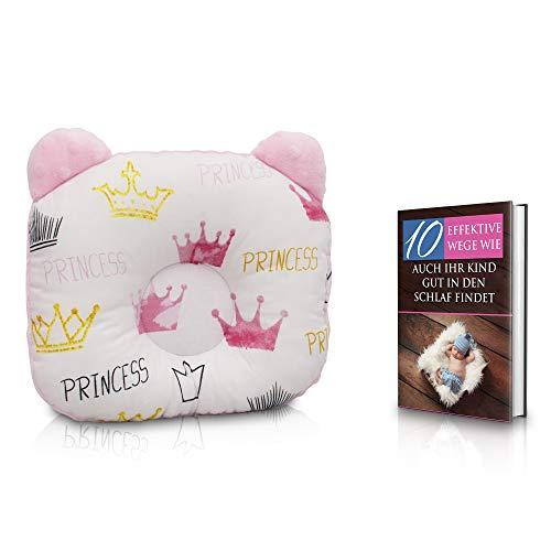 KidiZone das ergonomische Baby-Kissen gegen Plattkopf und Kopfverformung mit Oeko-Tex 100 Zertifikat. Kinderkissen, Lagerungskissen, baby pillow für die Baby Erstausstattung, Baby Geschenk princess