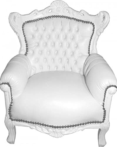 Casa Padrino Barock Kinder Sessel Thron Weiß Weiß
