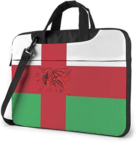15.6 inch Laptop Shoulder Briefcase Messenger Wales Flag Nordic Cross Tablet Bussiness Carrying Handbag Case Sleeve
