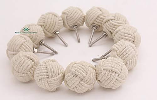 Coppia di pomelli in iuta con nodo a pugno di scimmia per scaffali, armadietti o cassetti, da tirare, decorazione di tipo navale